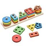 irady Lernspielzeug Holzpuzzles Geometrisches Stapel Steckspiel Farben und Formen Sortierspiel Lernspielzeug für Kleinkind Kinder