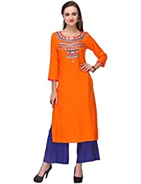Varanga Women's Rayon Orange Embroidered Kurta