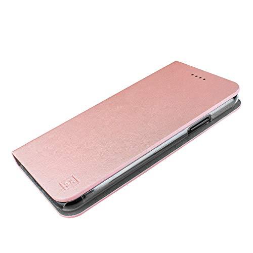 Olixar Wallet Case Kompatibel mit Samsung Galaxy S10 Plus - PU Kunstleder - Schmale Schutzhülle - Kartenfächer und eingebauter Media Viewing Stand Leder Stil (Roségold) Media Wallet Case