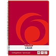 Herlitz 297531 Notizblock mit Seitenspirale, 70 g/qm, A5, kariert, 80 Blatt 4er Packung
