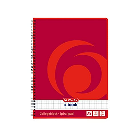 Herlitz A5 80 Sheet Squared Spiral Book (Pack of 4)