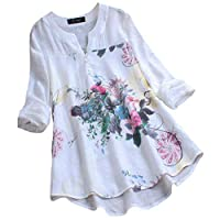 Runrun Plus Size Casual Tops V Neck Long Sleeve Vintage Boho Floral Printed Patchwork Loose Blouse Shirt Top White