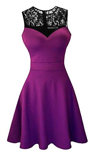 Suimiki Damen ärmellos Rundausschnitt falten A-linie Partykleid mini Cocktailkleid kurz Festliche Kleid Violett mit schwarzer Spitze