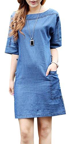 115b054bb91f4a Beautisun Jeanskleid Damen Retro Denim Kleid Rundhal Jeansrock Kurze Ärmel  Dress Freizeit Gemütlich Kleider Blau