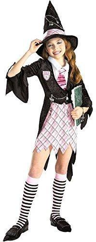 Schulmädchen Hexe + Socken & Hut Halloween Kostüm Kleid Outfit 3 - 10 jahre - 5-7 years (Hexe überschuhe)