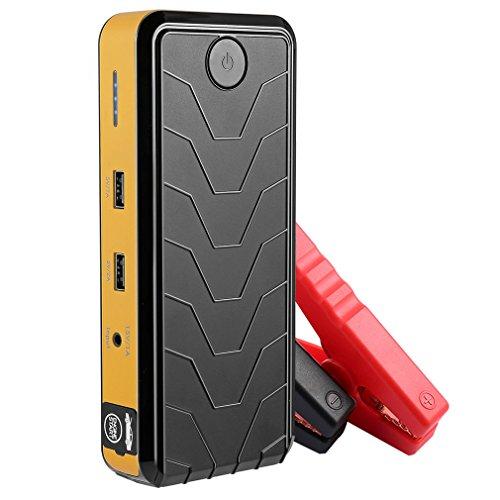 Preisvergleich Produktbild KFZ Starthilfe, CATUO Tragbare 5-im-1 12V 400A Spitzenstrom Auto Jump Starter, 12800mAh Power bank, Eingebaute LED Taschenlampe, Dual USB Anschlüsse, Externer Akku Ladegerät mit Sicherheitshammer (Gelb)