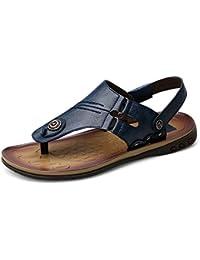 Sunny Baby Sandalias de Playa de los Hombres de Cuero Genuino  Antideslizante Tanga Chanclas Zapatillas Ajustables sin 8b363990458