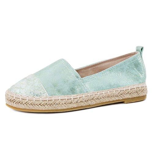 Damen Espadrilles Low Top Sommer Slipper Sneaker Metallic Lederoptik Y-Mint Metallic