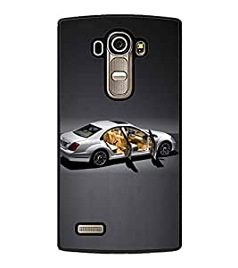 PrintVisa White Car With Open Doors High Gloss Designer Back Case Cover for LG G4 :: LG G4 Dual LTE :: LG G4 H818P H818N :: LG G4 H815 H815TR H815T H815P H812 H810 H811 LS991 VS986 US991