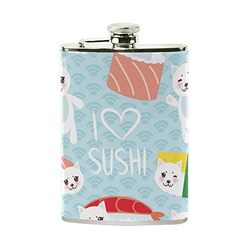 jeansame Personalisierte Hip Drink Fläschchen 8Oz aus Edelstahl für Damen Herren Cute Cat Emoji-Japanische Sushi -