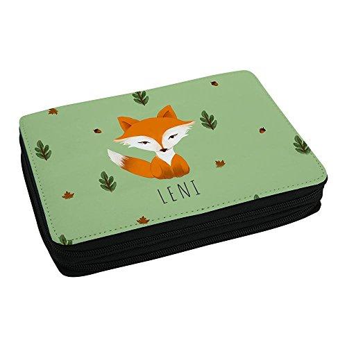 Schul-Mäppchen mit Namen Leni und schönem Motiv mit Aquarell-Fuchs für Mädchen - Federmappe mit...