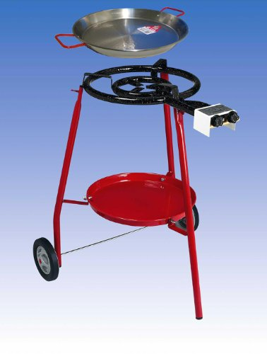 Complete Paella Kit Set for the Kitchen Outdoor, particularly suitable for the preparation of Paella. The Kit Includes: Stove with Power Supply to Gas (LPG) to Two Independent Burners, Support Three Feet, Coated Steel Frying Pan in Ferr