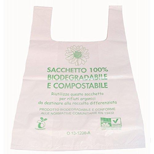 imballaggi2000 Borse Plastica Biodegradabili Shopper Medie 500 Pezzi Mater Bi Compostabili
