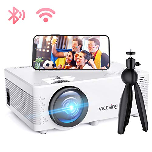 Mini Beamer, VicTsing WiFi Beamer Full HD 4000 Lumen Bluetooth LED Projektor, 1080P HD 170 \'\' Display 50000 Stunden, Wireless Video Beamer Kompatibel mit Smartphone, TV Stick, HDMI, VGA, SD, AV, USB