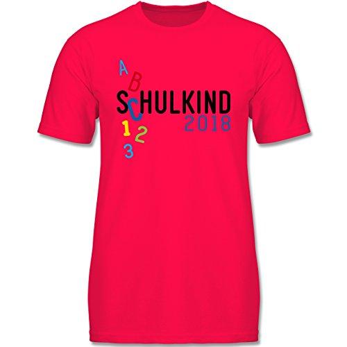 ng - Schulkind 2018 ABC Bunt - 128 (7-8 Jahre) - Rot - F140K - Jungen T-Shirt (Oster-shirts Für Jungen)