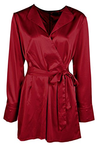 Baie Femme Rose Long Sleeved Wrap Front Satin Playsuit Baie
