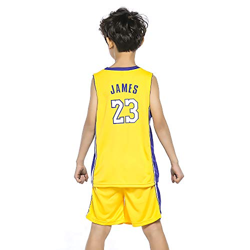 Kostüm Kinder James - BUY-TO James Trikot Basketballuniform für Kinder Kid Anzug T-Shirt Lakers Shorts Geeignet für Kinder im Alter von 8-15 Jahren Jungen Mädchen,Yellow,S(120-130CM)