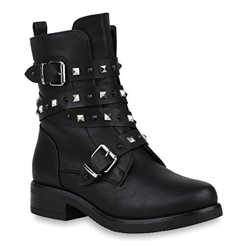 Stiefelparadies Damen Schuhe Stiefeletten Biker Boots Warm Gefütterte Stiefel Nieten 152897 Schwarz Nieten Autol 38 Flandell