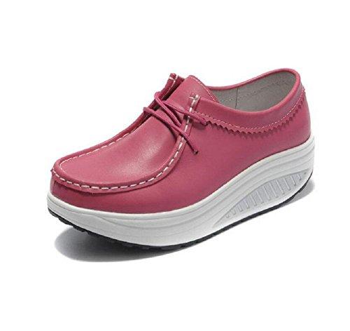 LDMB Frauen wasserdichte Plattform flachen Mund Kreuzgurt Schuhe Keil heeled Schuhe Pink