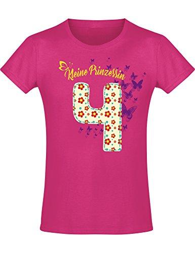 Geburtstags Shirt: 4 Jahre Blumen Kinder - Geburtstags T-Shirt 4 Jahre Kind Mädchen - Geschenk Zum 4. Geburtstag - Mädchen T-Shirt 4 Geburtstag - Geburtstag-Shirt Kinder 4 (116) -
