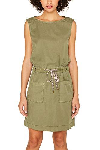 edc by ESPRIT Damen 079Cc1E013 Kleid, Grün (Khaki Green 350), Herstellergröße: 38