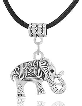MESE London Elefant-Halskette Schwarze Lederschnur Silber Tribal Anhänger - Elegante Geschenkbox