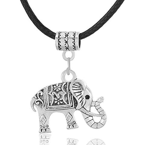 MESE London Elefante Collana Corda Di Cuoio Nero Srgento Ciondolo Tribale - Elegante Confezione Regalo