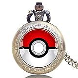 Taschenuhr für Herren, Vintage-Design mit Monster Anime Pokeball Bronze Pokemon Go Taschenuhr Geschenk