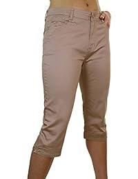 ICE (1510-4) Pantacourt en Jeans Extensible avec Diamante Marron Grande Taille