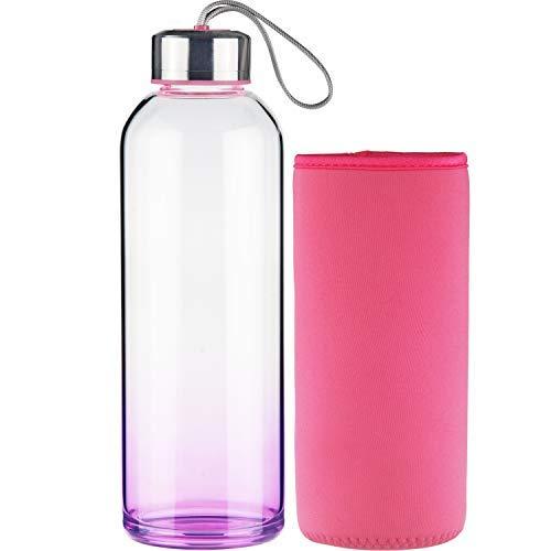FCSDETAIL Sport Trinkflasche Glas Wasserflasche mit Neopren-Hülle 1000 ml -