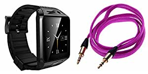 MIRZA Bluetooth DZ09 Smart Wrist Watch & AUX Cable for LG g4 beat(AUX Cable & DZ09 Smart Watch Wrist Watch Phone with Camera & SIM Card Support Hot Fashion New Arrival Best Selling Premium Quality Lowest Price with Apps like Facebook,Whatsapp, Twitter, Sports, Health, Pedometer, Sedentary Remind & Sleep Monitoring, Better Display, Loud Speaker, Microphone, Touch Screen, Multi-Language, Compatible with Android iOS Mobile Tablet-Assorted Color)
