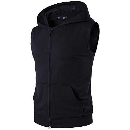 Zhhlaixing Atmungsaktiv Men's Summer Lightweight Sleeveless Hooded T-Shirt with Pockets Black