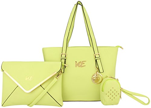 ViE 3 in 1 Women's Handbag with Clutch & Pouch Combo Set (Light Green)