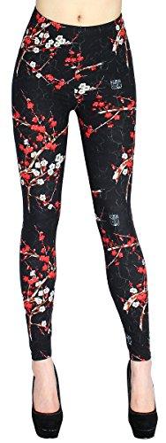 Blumen Muster Damen Leggings Treggings Jeggings mit Flower Print in One Size Gr. 36-42 - JL079 (JL079-OneSize Gr.36-42)