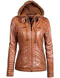 a75196bf49 Hffan Damen Herbst Winter ÜBergangsjacke PU Leder Jacke Frauen Kurz Biker  Motorrad Einfarbig…