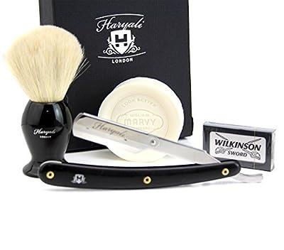 Hand Assembled Sophist Collection Elegantly Designed White Badger Hair Shaving Brush With Straight Cut Throat Razor,Shaving Soap & Pack Of Shaving Blades Traditional Straight Shaving Razor, Using Half Blade.
