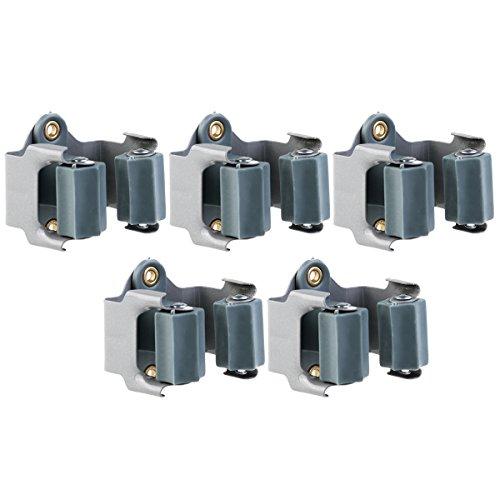 NUOLUX Gerätehalter, Besen Halter, 5pcs Mopps Halter Wandhalterung Garten Lagerregal (schwarz)