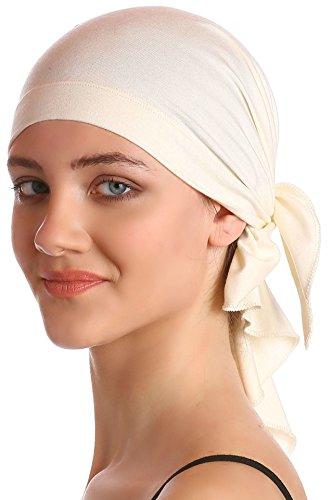 Unisex Baumwolle Bandana Fur Haarverlust (Cream) (Stirnband Medizinische)