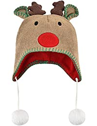 5f2d6774103 Warm Christmas Hat for Baby - Infant Toddler Winter Hat with Earflaps Xmas  Elk Horn Knit