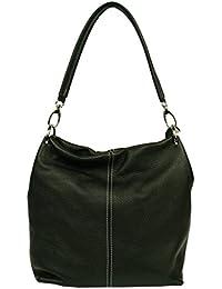 attractive negro bolso de mano de cuero sobre el hombro Fiora Nera