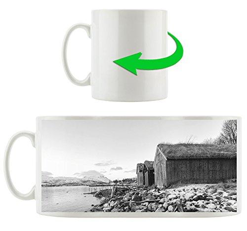 Küste der norwegischen See Tromso Kunst B&W, Motivtasse aus weißem Keramik 300ml, Tolle Geschenkidee zu jedem Anlass. Ihr neuer Lieblingsbecher für Kaffe, Tee und Heißgetränke (Küsten-stil Geschirr)