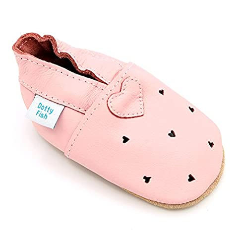 Dotty Fish Leder Babyschuhe - rutschfest Wildledersohle – chromfrei weiche Lederschuhe - Baby Mädchen - rosa Herzen - 6-12 Monate - Gr.