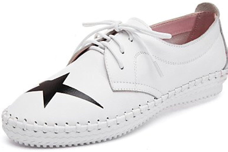 NJX/ hug Zapatos de mujer-Tacón Plano-Comfort / Punta Redonda-Oxfords-Exterior / Oficina y Trabajo / Vestido-Cuero-Negro...