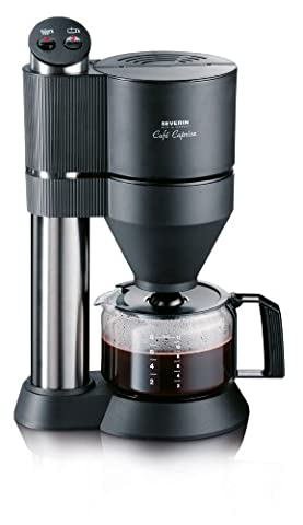 Severin CAPRICE Filter Coffee Maker with Vapotronic Brewing System, 1.2 Litre, 1450 Watt, Brushed stainless Steel, Black