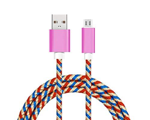 Cable Compatible con Xiaomi Mi A2 Lite Cable Micro USB Cable Cargador Nylon Trenzado Conectores Cable Cargador Micro USB Fucsia
