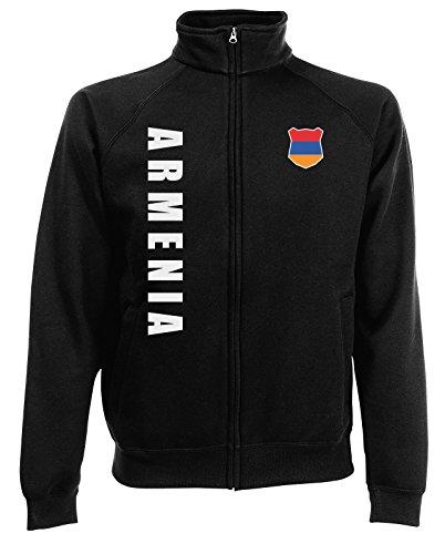 Armenien Armenia Sweatjacke Jacke Trikot Wunschname Wunschnummer (Schwarz, S)