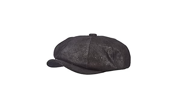 Stetson Classic Leather Collection Black Front Snaps Weathered 8//4 Cap Black STW199
