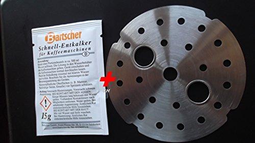 Filtereinsatz Lochblech Filter Sieb für Bartscher Kaffeemaschine Contessa, Aurora + Entkalker Set