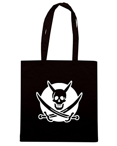 T-Shirtshock - Borsa Shopping FUN1194 devil pirate bw womens dark tshirt Nero