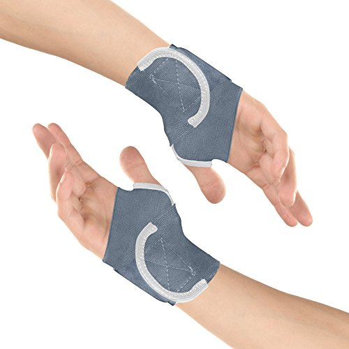 Healthgenie Wrist Brace with Thumb Support One Size Fits Most (1 Pair - Grey), Elastic & Breathable Fabric - Adjustable Compression Wrist Support for Wrist Pain & Sports Injuries
